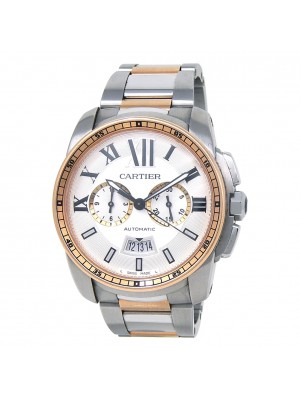 Cartier Calibre de Cartier Chronograph Stainless Steel & 18k Rose Gold W7100042