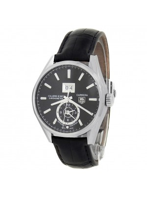 Tag Heuer Carrera Stainless Steel Leather Auto Black Men's Watch WAR5010.FC6266
