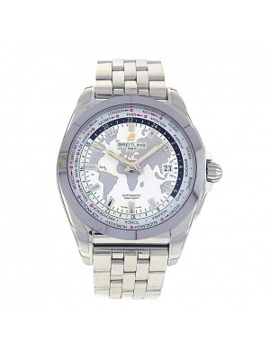 Breitling Galactic Unitime White Dial S. Steel Automatic Men's Watch WB3510