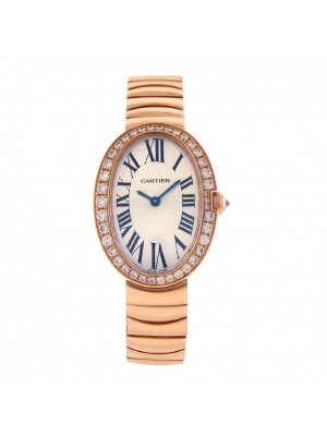 Cartier Baignoire 18k Rose Gold Swiss Quartz Diamond Bezel Ladies Watch WB520002