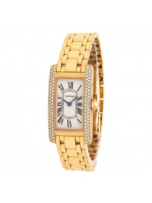 Cartier Tank Americaine 18k Yellow Gold Quartz Ladies Watch WB7043JQ