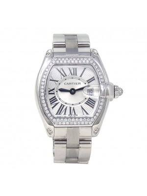 Cartier Roadster 18k White Gold Diamond Bezel Swiss Quartz Ladies Watch WE5002X2