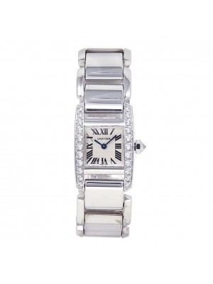 Cartier Tankissime 18k White Gold Diamond Bezel Quartz Ladies Watch WE70039H