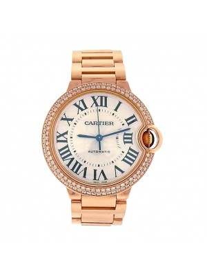 Ladies 18K Rose Gold Diamonds Cartier Ballon Bleu WE9005Z3 Automatic Dress Watch