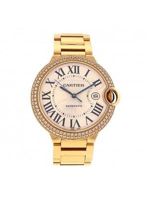 Cartier Ballon Bleu 18k Yellow Gold Diamond Bezel Automatic Men's Watch WE9007Z3