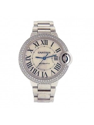 Cartier Ballon Bleu WE902065 18k Gold Automatic Diamonds Silver Ladies Watch