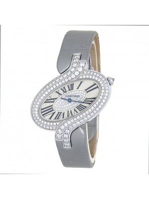 Cartier Delices de Cartier 18k White Gold Quartz Ladies Watch WG800019