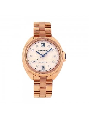 Cartier Cle de Cartier 18K Rose Gold Diamond Markings Automatic Watch WJCL0033