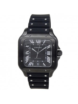 Cartier Santos Stainless Steel Black Rubber Automatic Black Men's Watch WSSA0039