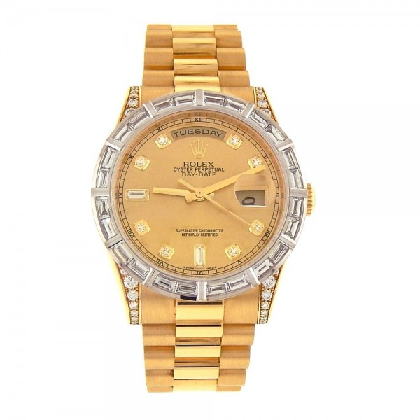 Rolex Day-Date President 18k Yellow Gold Diamond Bezel and Dial Watch 118338
