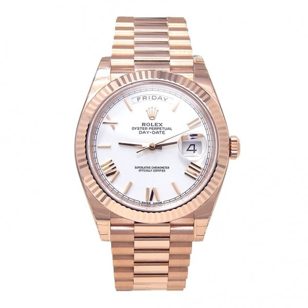 Rolex Day Date President Fluted Bezel 18k Rose Gold Automatic Men's Watch 228235