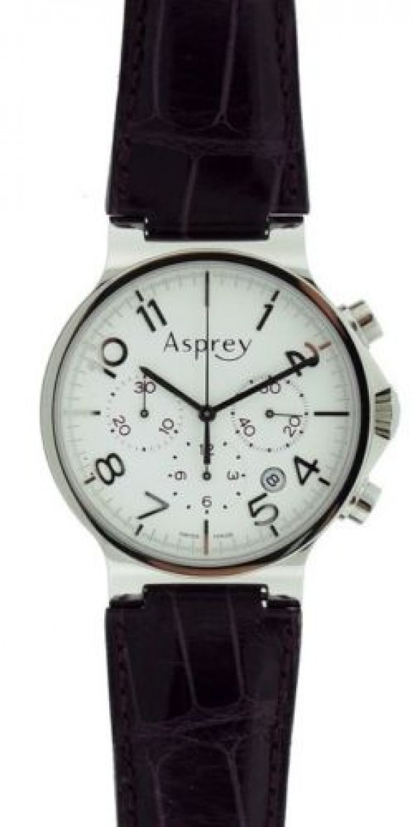 Asprey purple leather strap chronograph s s white dial automatic swiss watch for Violet leather strap watch